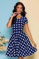 Rochie de zi Tina bleumarin cu imprimeu