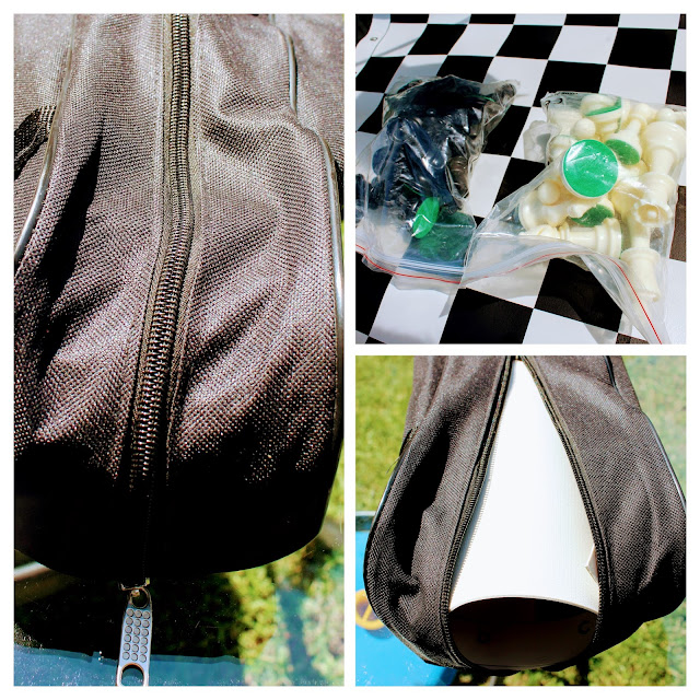 Tournament Roll-up Triple Weighted Chess Set - A three picture collage of the carrying case, Staunton pieces in clear plastic bags and the vinyl board.