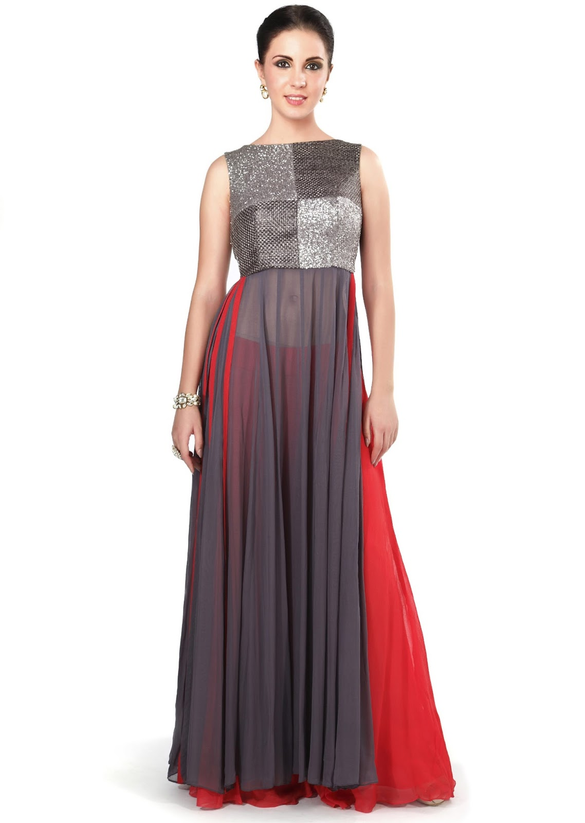 Grey sequin and weave embroidered palazzo suit for Floor length kurti