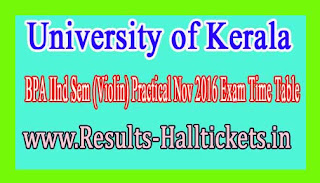 University of Kerala M.Sc Botany Practical IInd Sem Nov 2016 Exam Time Table