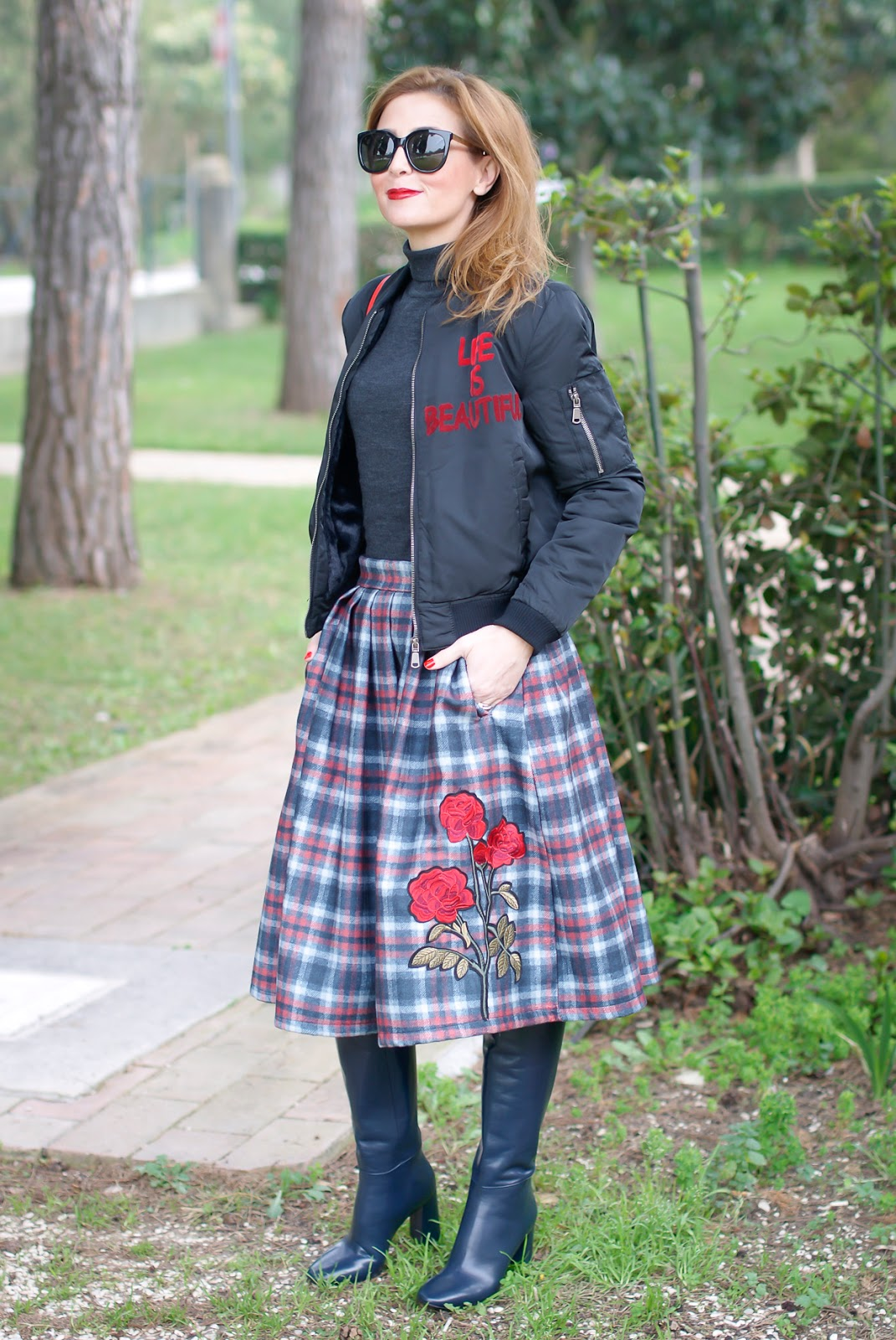 Checked embroidered midi skirt and bomber jacket on Fashion and Cookies fashion blog, fashion blogger style