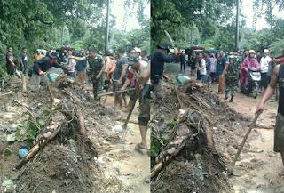Personil Koramil 03/Sibolangit, Bantu Korban Bencana Alam Tanah Longsor Di Jalan Jamin Ginting