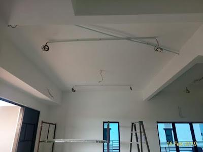 kerja wiring di ruang tamu