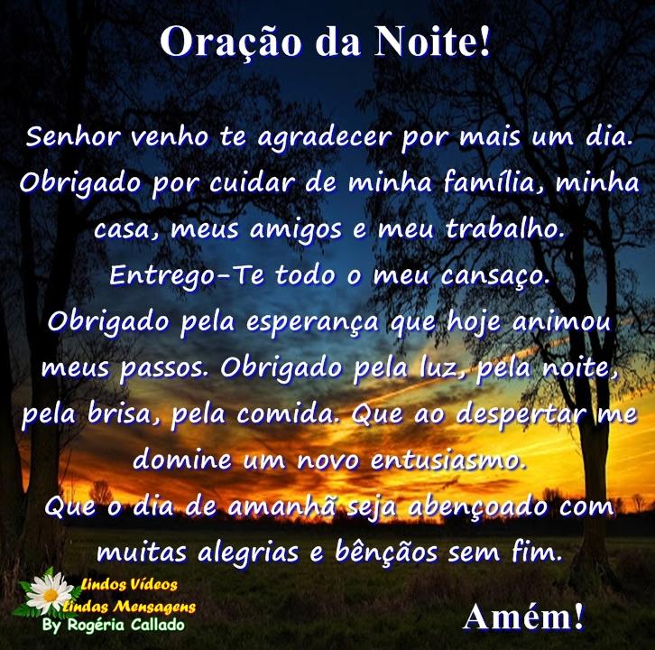 Suficiente Lindos Vídeos Lindas Mensagens: Oração da Noite! OO02