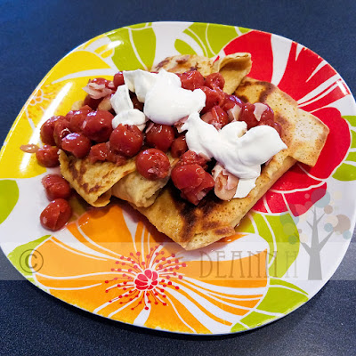 cherry blintzes with sour cream