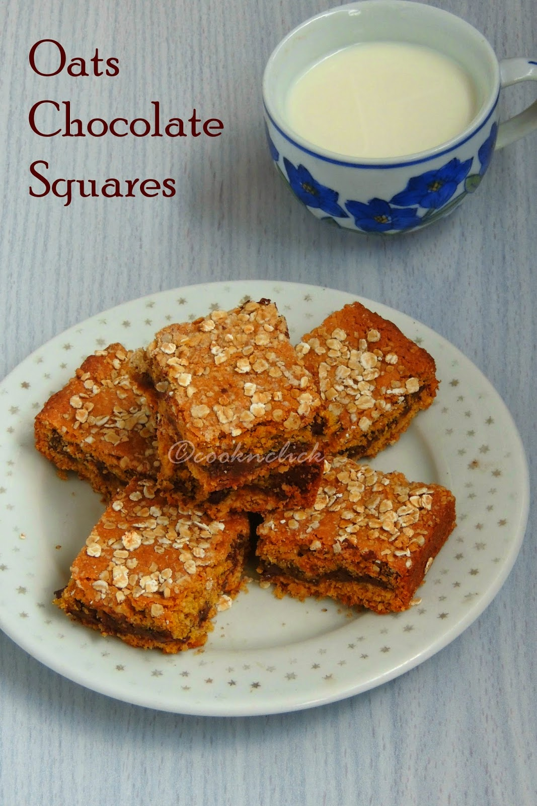 Oats chocolate squares, eggless chocolate squares, chocolate squares