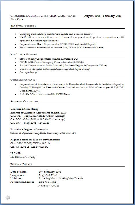 CA Resume Format Download