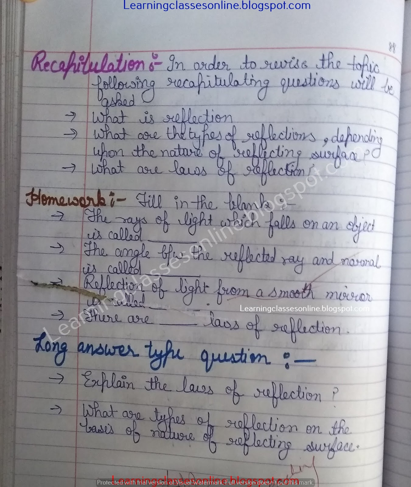 Science Lesson Plan on Law of Reflection and Light