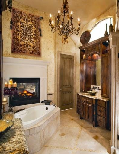 Baño rústico con chimenea