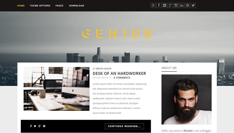 Download - Genius - Responsive Photography Blogger Template