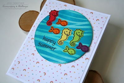 Rainbow Under the Sea Card by Jess Gerstner for Lawnscaping Challenges using Lawn Fawn Critters in the Sea