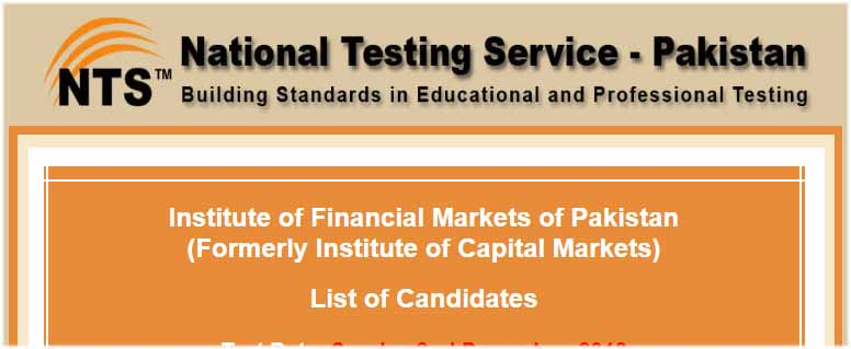 NTS IFMP Institute of Financial Markets of Pakistan Test Result Merit List Answer Keys