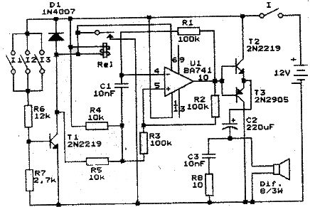741 op amp bassed Alarm project electronic circuit with