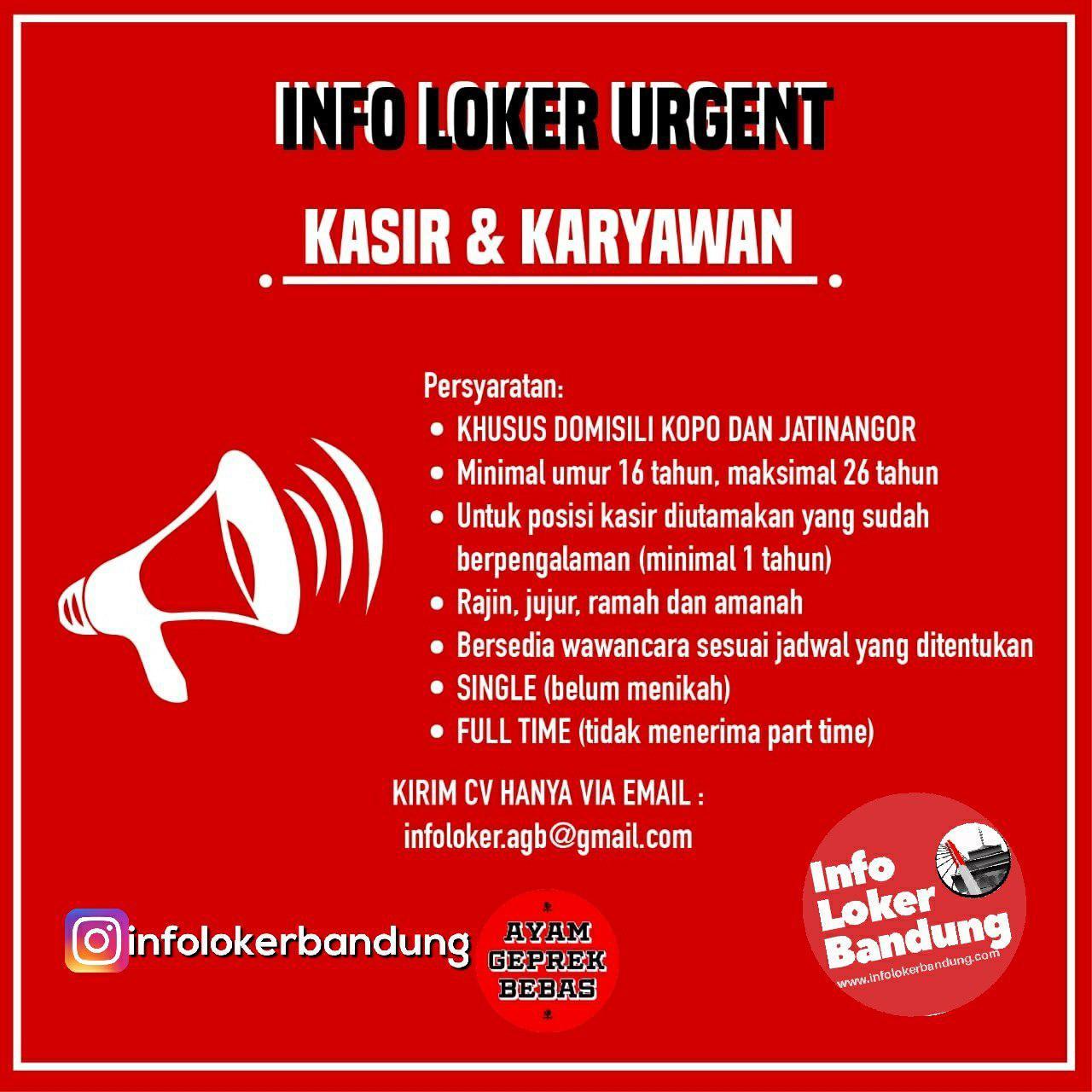 Lowongan Kerja Ayam Geprek Bebas Bandung Januari 2019