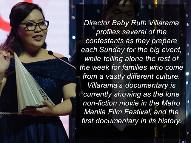 Sunday Beauty Queen recently bagged the Best Picture Award from the Metro Manila Film Festival (MMFF) in spite of the fact that it was not shown in major cinemas in the country. Being the only OFW oriented MMFF entry, it tackles the true-to-life Cinderella story of the OFWs  working in Hong Kong. The one day glamour of the life of Hong Kong household service workers out of busy, unforgiving week of workloads. It is the first documentary film about OFWs that made it as an entry to the prestigious MMFF for a very long time. It tackles  about HSWs in Hong Kong, their daily life, their struggles and everything that they've been through.    There are 190,000 documented OFW professional helpers in Hong Kong.   They work almost 24 hours a day for 6 days. Sunday is their rest day. The only day that they can spend for themselves. But just like the story of Cinderella, at the end of the day, glamour and fancy bliss ends and it's time to go back to reality.        If you did not watch this movie yet, take time to watch. It will definitely uplift your spirit if you are an OFW, and if you are not an OFW, you will further understand their situation and will surely change the notion that OFW life is fun and just like picking up dollars on the street.