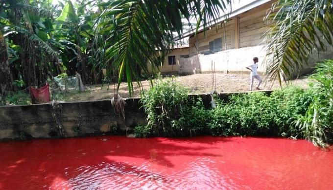 Photo: Shock as Koforidua river turns red