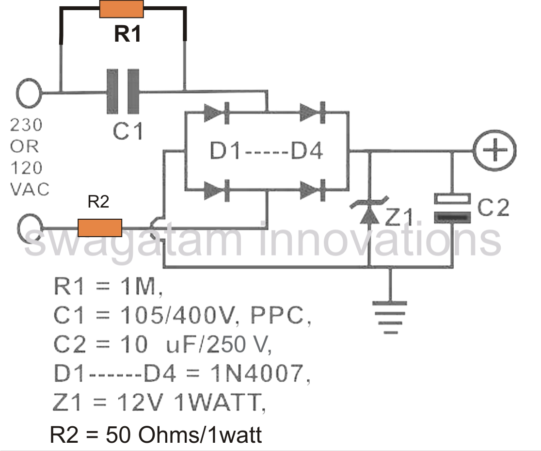 Simple Transformerless Power Supply 12vdc To 120vac Inverter Circuit Diagram Electronic Circuits Pcb Layout For The Above Explained Is Shown In Following Image Please Note That I Have Included A Space An Mov
