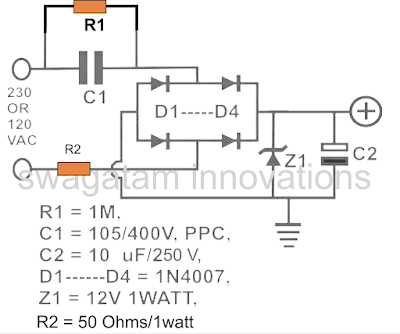 simple stabilized capacitive transformerless power supply circuit