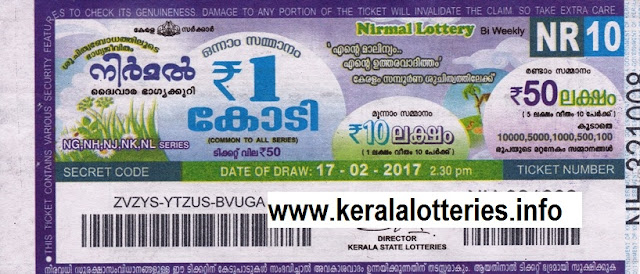 Kerala lottery result of Nirmal (NR-10) ON 17 February 2017