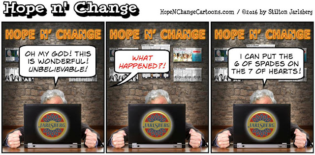 obama, obama jokes, political, humor, cartoon, conservative, hope n' change, hope and change, stilton jarlsberg, solitaire
