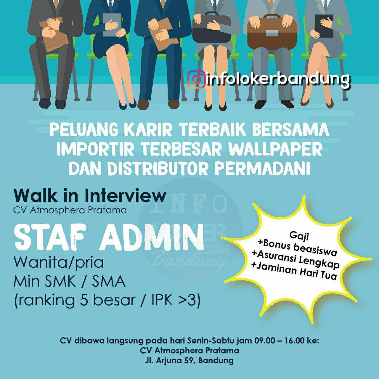 Lowongan Kerja CV. Atmosphera Pratama ( Walk In Interview ) Bandung November 2018