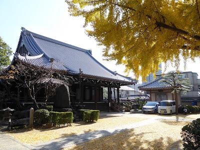 守口市 難宗寺本堂と大阪府指定天然記念物のイチョウ
