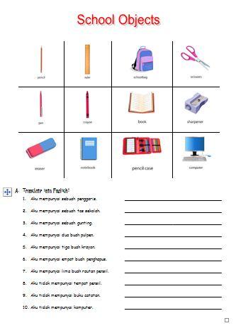 Materi Bahasa Inggris untuk Anak Level 1 (Usia 7 - 9 Tahun): School Objects (Benda-benda Sekolah)