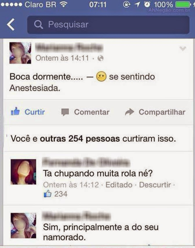 Resposta indesejada no facebook