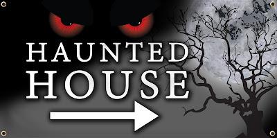Haunted House Vinyl Banner | Banners.com
