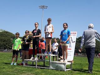 Il podio del salto in lungo Esordienti 10 F con Sofia Iacoangeli vincitrice