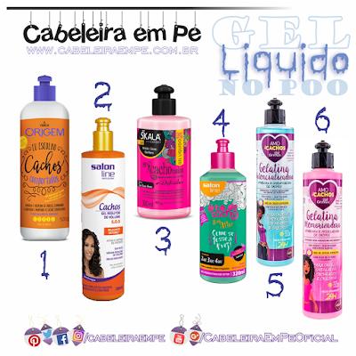 Lista Gel líquido para revitalizar os cabelos (cacheados ou não) no day-after. Marcas Nazca/Origem, Salon Line, Skala e Griffus liberadas para No Poo / Low Poo.