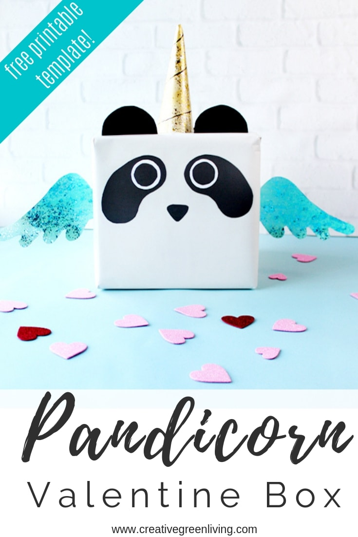 "How to make a cute ""pandicorn"" panda unicorn valentine box! You can download a free printable pandacorn template pattern for making a unicorn valentines box. This would also make a great card box for a birthday party. #creativegreenliving #pandicorn #panda #unicorn #pandaunicorn #pandacorn #valentinebox #unicornvalentinebox"