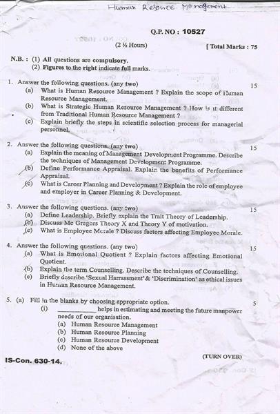 MU B Com 6th Semester Human Resource Management 2015 Question Paper