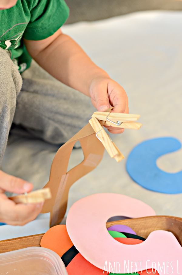 Counting clothespins: fine motor math tray for toddlers and preschoolers from And Next Comes L