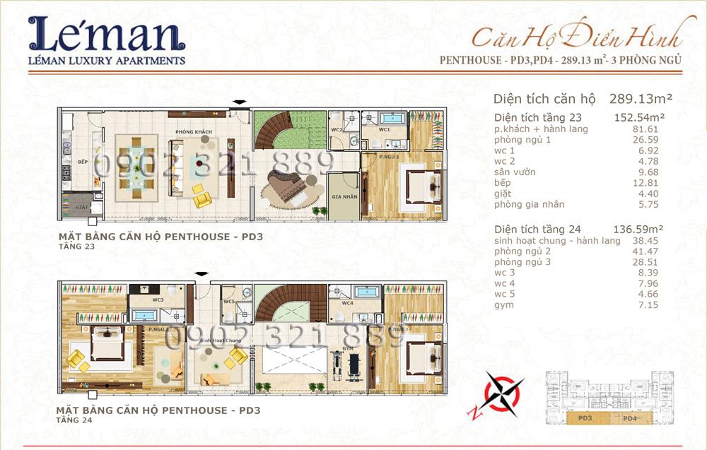 Mặt bằng căn hộ Leman C T Plaza Penthouse 289.13m2