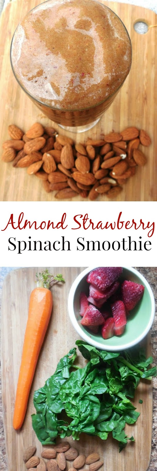 This Almond Strawberry Spinach Smoothie is a unique combination of ingredients that taste great together! Ready in 3 minutes or less. www.nutritionistreviews.com