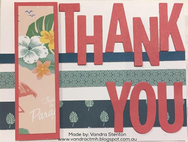 #ctmhPostcardPerfect, Postcard Perfect, tropical, palm, thank you, thanks, Fun, Fundamentals, Ribbon, Tags, 3D Foam, thin cuts, cut above, Birthday, bundle, National Scrapbooking Month, #CTMHVandra, Vandra,