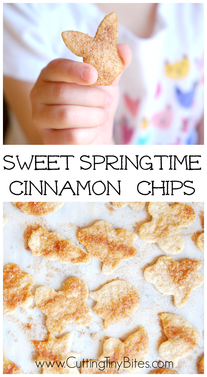 Sweet Springtime Cinnamon Chips- Spring or Easter snack for kids. Simple and easy to make.