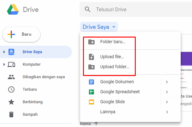 cara uploud file di google drive