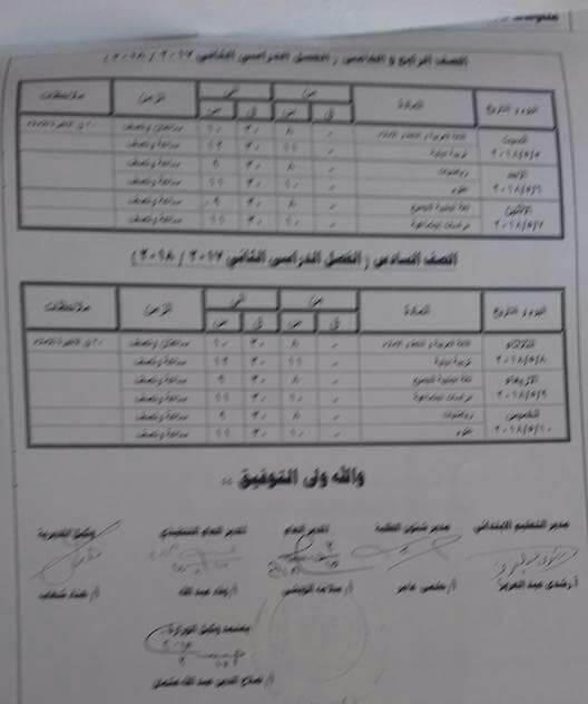 جدول امتحانات الصف الخامس الابتدائي 2018 الترم الثاني محافظة كفر الشيخ