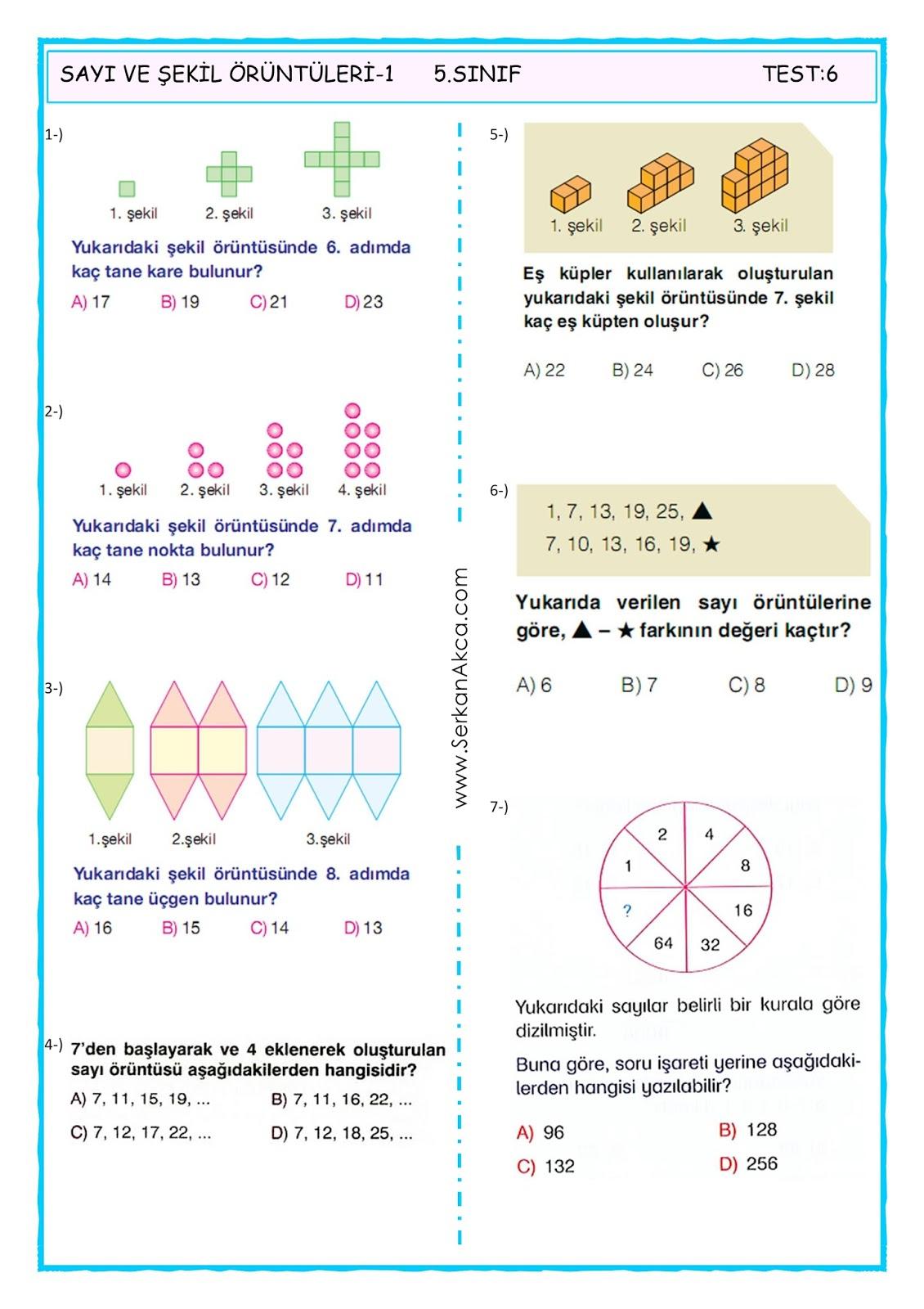 5 Sinif Sayi Ve Sekil Oruntuleri 2 Serkan Akca Matematik