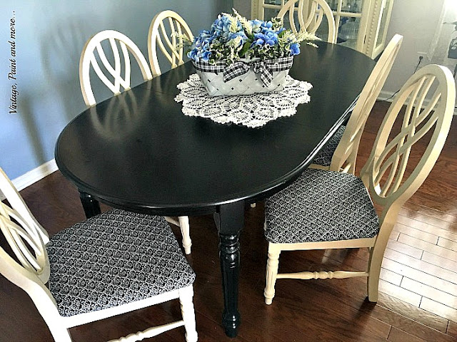 Vintage, Paint and more... dining room makeover with black chalk painted table, white chairs and vintage looking fabric