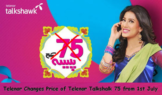 Telenor Changes Price of Telenor Talkshalk 75 from 1st July