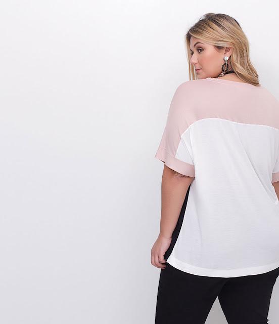 Moda Blusa com Recortes Curve Plus Size