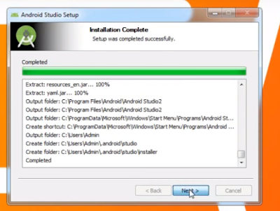 Extraction of files and installation of android studio is successful message.