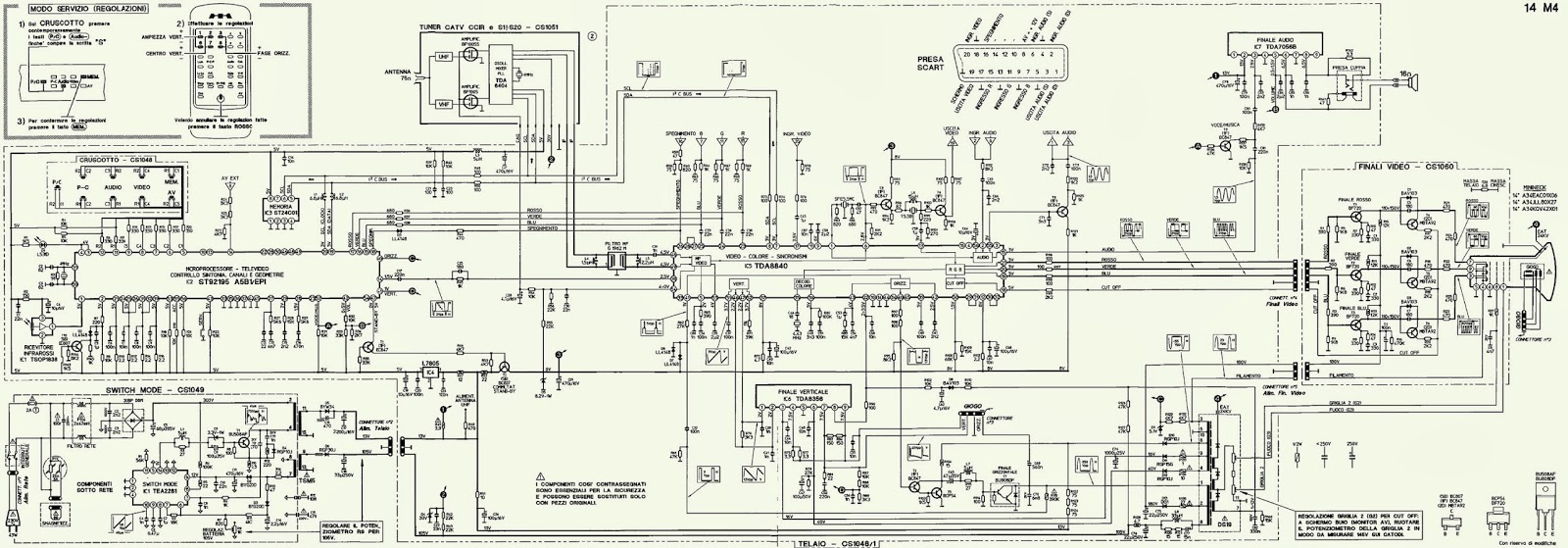 Colour Tv Circuit Diagram Smshowde 3682404 Toshiba Color 34hf84 Service Manual Mivar 14m4 Schematic