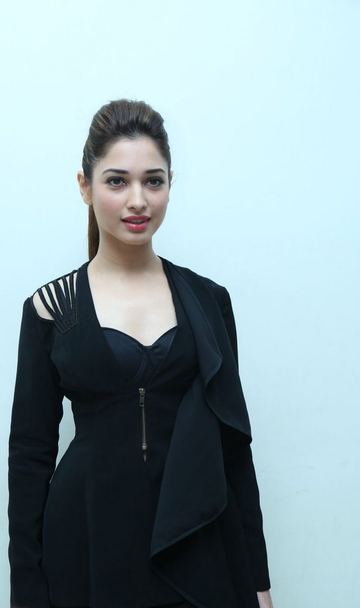 Tamanna Stills In Black Dress At Bengal Tiger Audio Launch