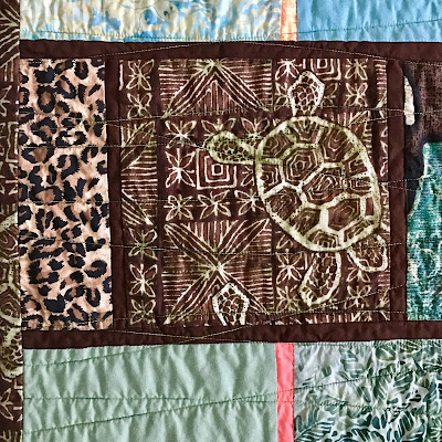 "Leopard print fabric in ""Turtle Quilt"" by  Lucinda Walker"