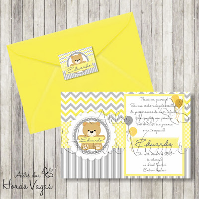convite aniversário infantil artesanal personalizado ursinho urso chevron cinza amarelo dourado menino chá de fraldas bebê festa envelope adesivo tag
