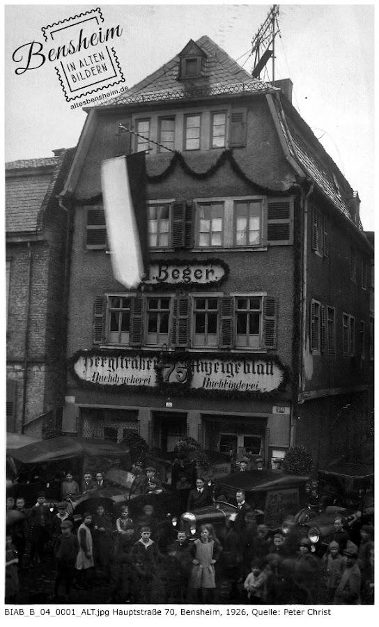 Buchdruckerei Beger 1926, Hauptstraße 70, Quelle: Peter Christ